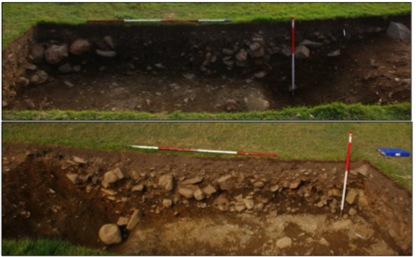 Top: Shot of the south-facing section through the north side of Trench – northwest end. Bottom: shot from the north facing section through the south side of trench 1. Both section show the sequence of rubble fills within the quarry hollows/scoops or possible ditched at the south-eastern end of trench 1[Waddington & Karl 2010, 10]